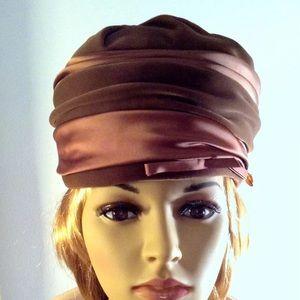 Vintage Pillbox Velvet/Satin Brown Hat NWOT